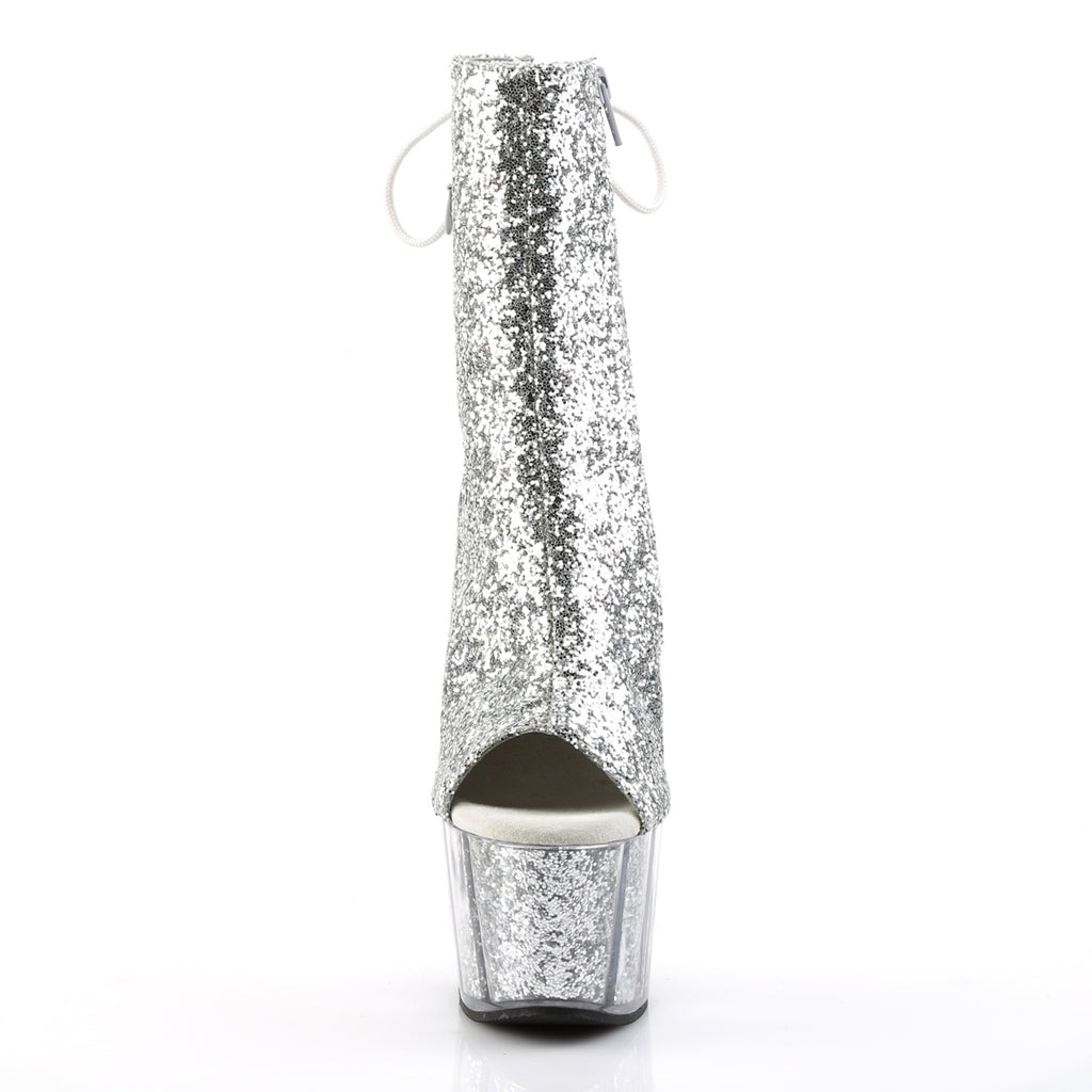 Adore 1018G Silver Sparkly Platform Ankle Boots