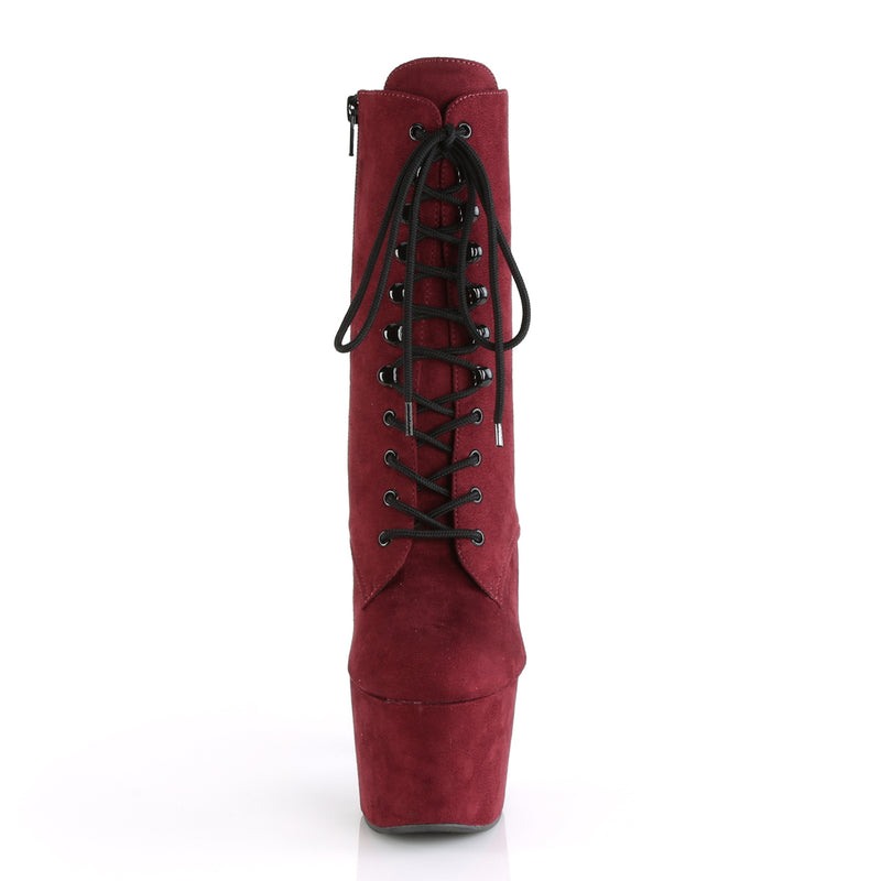 Adore 1020 Burgundy Faux Suede and Black Vegan Ankle Boots