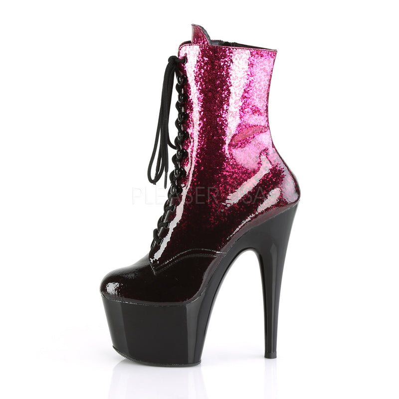 Adore 1020OMB Hot Pink & Burgundy Sparkly Platform Boots