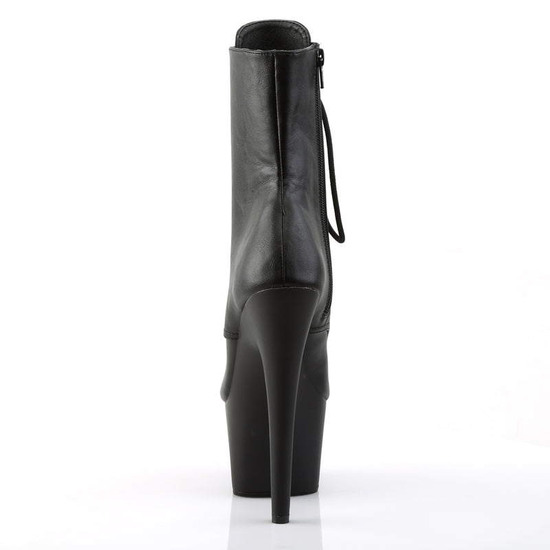Adore 1021 Black Faux Leather Peep Toe Boots
