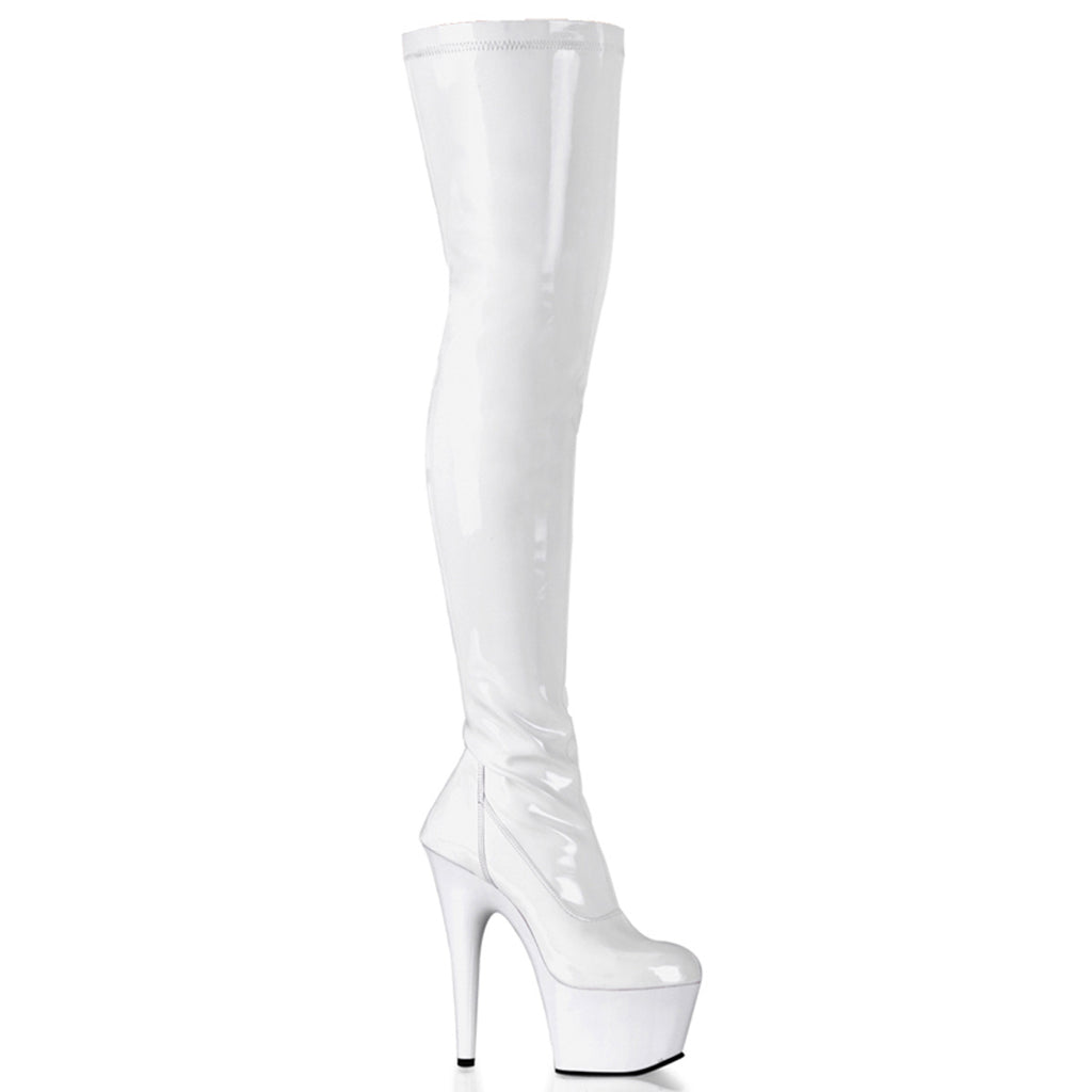 Adore 3000 White Patent Thigh High Platform Boots