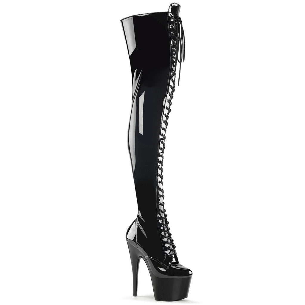 Adore 3023 Black Patent Lace Up Thigh High Boots