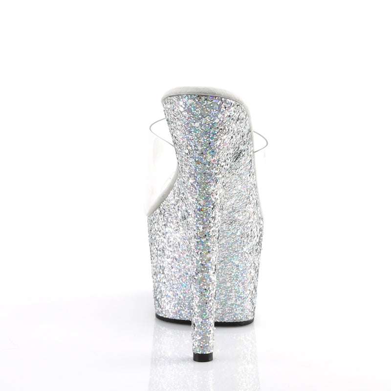 Adore 701LG Silver Holographic Glitter Platforms