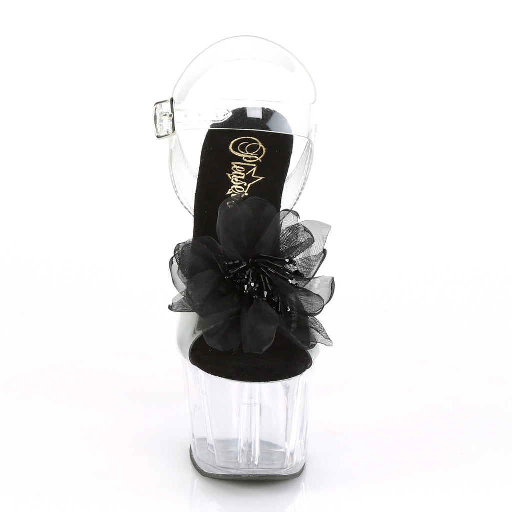 Adore 708BFL Clear & Black Flower Platforms