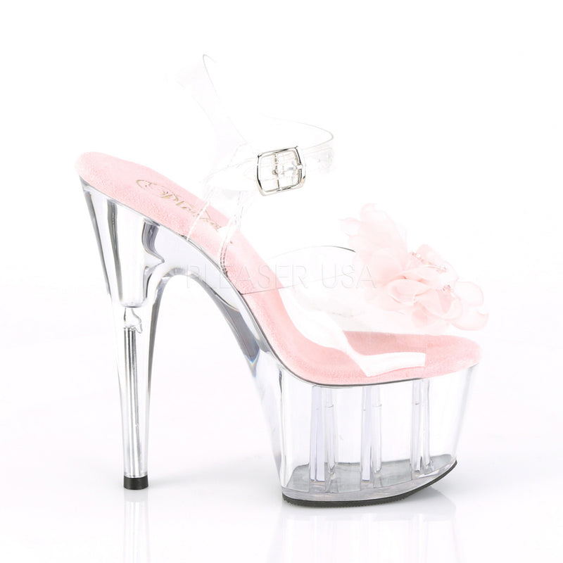 Adore 708BFL Clear & Pink Flower Platforms