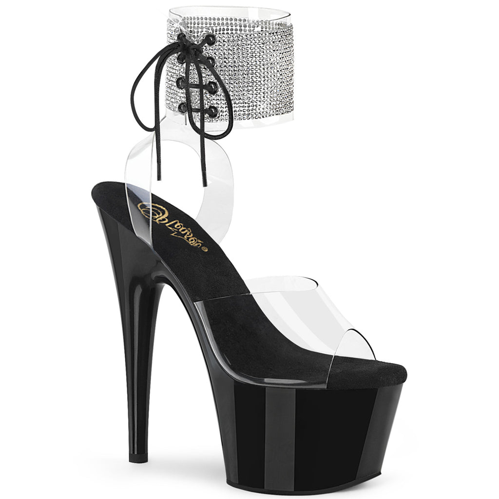 Adore 791-2RS Clear and Black Rhinestone Platforms