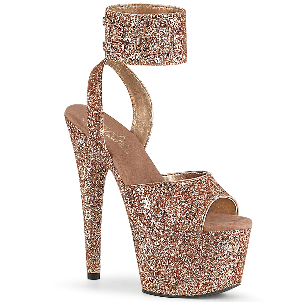 Adore 791LG Rose Gold Glitter Platforms