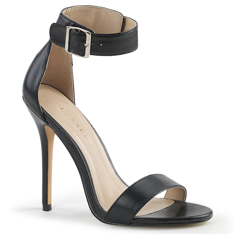 Amuse 10 Black Faux Leather Ankle Strap Sandals