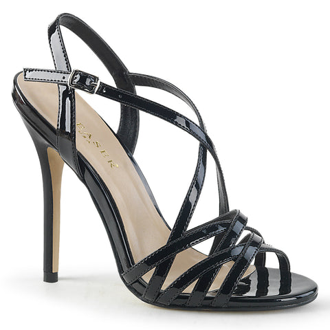 Domina 119 Black Patent Vegan Strappy Sandals