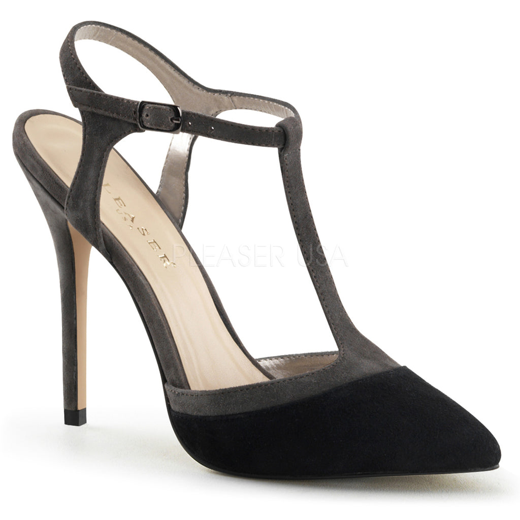 Amuse 17 Black and Grey Suede Stilettos