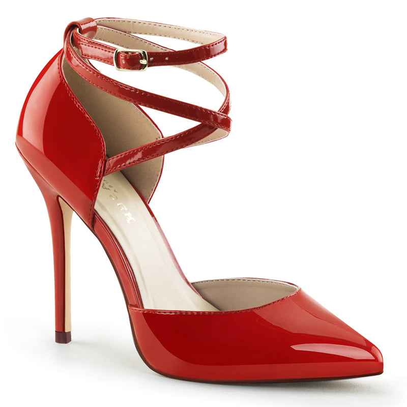 red two strap heels
