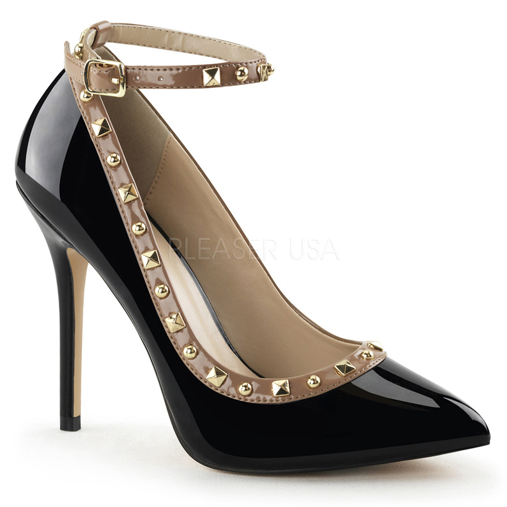 Amuse 28 Black Patent Studded Stilettos