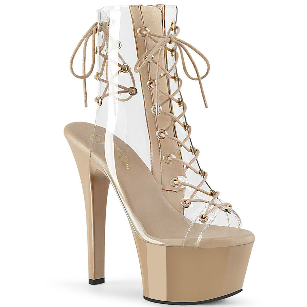 Aspire 600-30 Clear & Nude Peep-Toe Boots