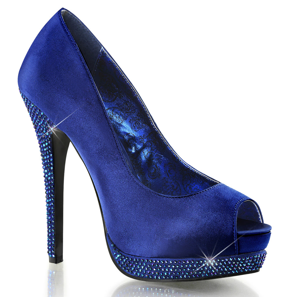 Bella 12R Blue Satin & Rhinestone Court Shoes