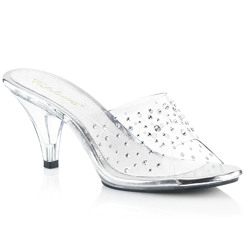 Belle 301RS Clear Mules with Crystals