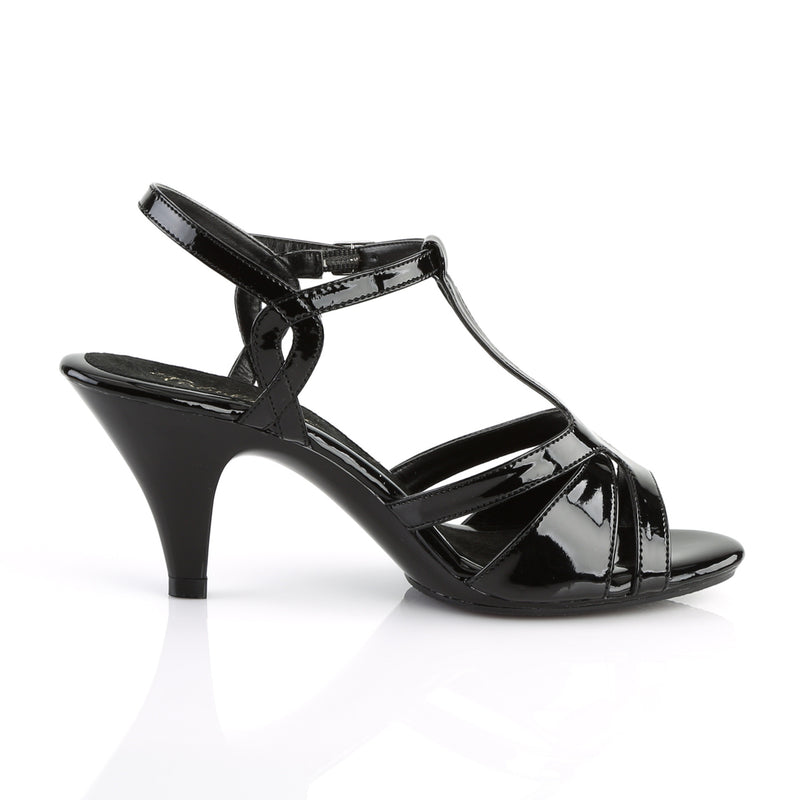 Belle 322 Black Patent T-Strap Sandals