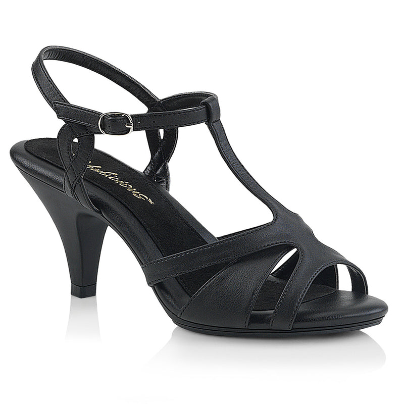 Belle 322 Black Faux Leather T-Strap Sandals
