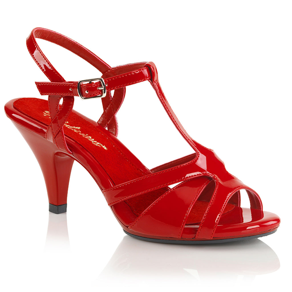 Belle 322 Red Patent T-Strap Sandal