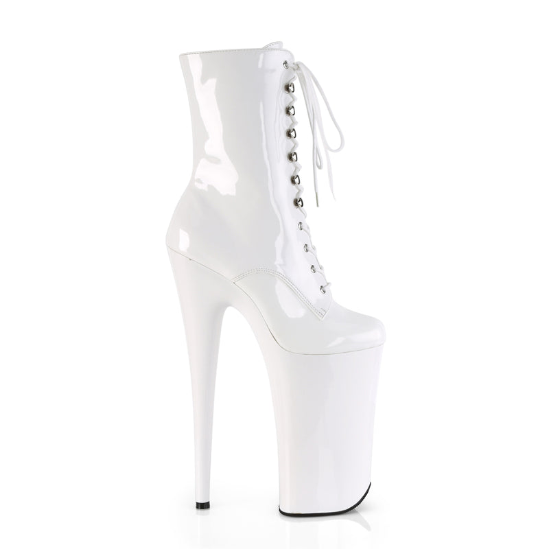 Beyond 1020 White Patent Patent Ankle Boots