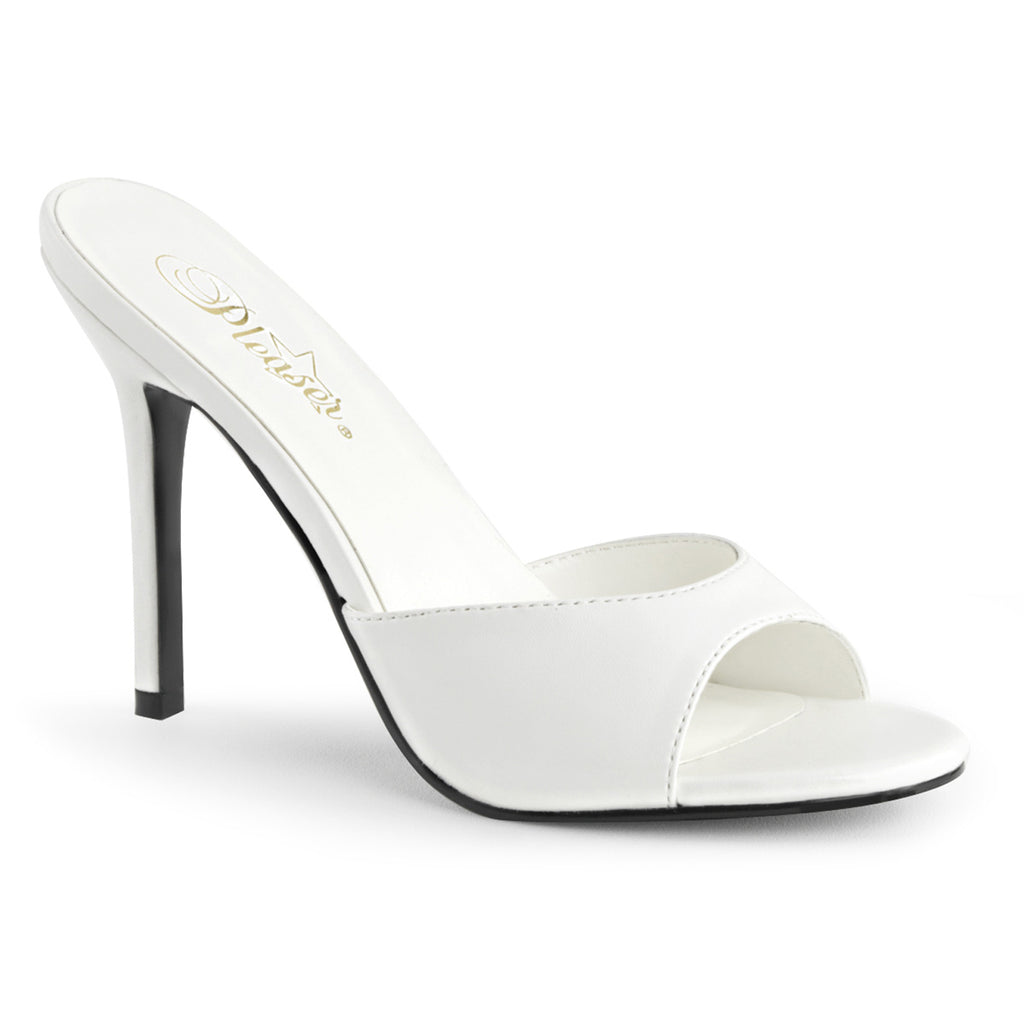 Classique 01 White Faux Leather Sandals