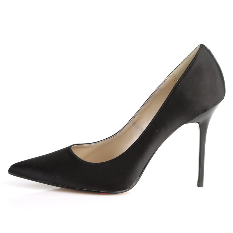 Classique 20 Black Satin Pointed Stilettos