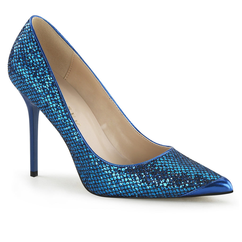 Classique 20 Navy Blue Glitter Pointed Stilettos