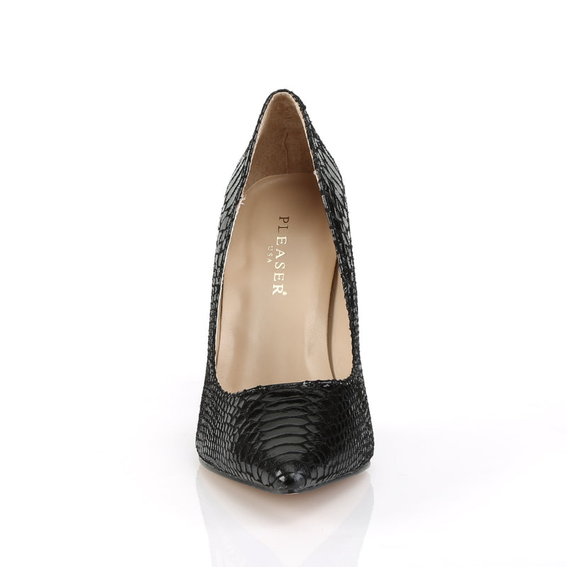Classique 20 Black Snakeskin Leather Pointed Stilettos