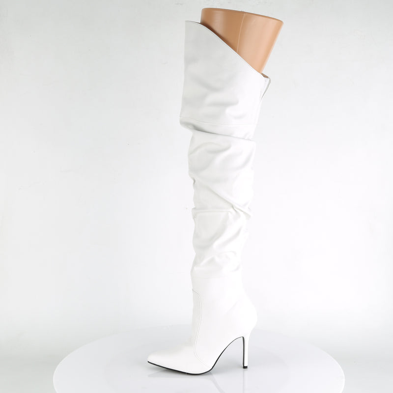 Classique 3011 White Faux Leather Ruched Thigh High Boots