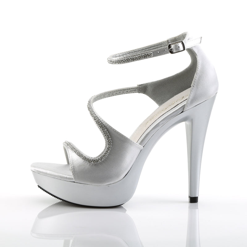 Cocktail 526 Silver Satin Platforms with Rhinestones
