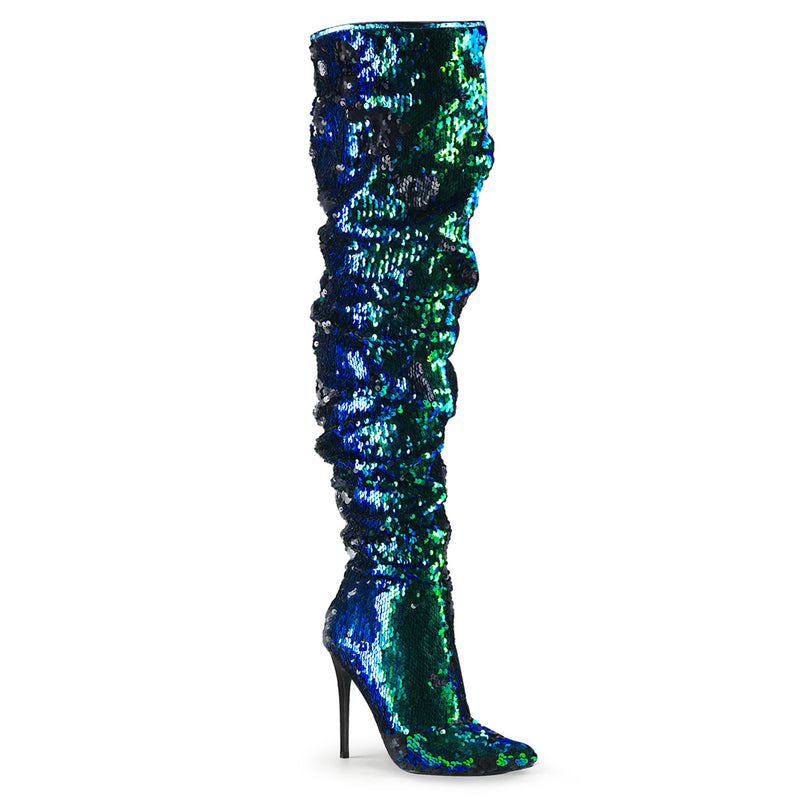 Courtly 3011 Green Sequin Slouch Thigh High Boots