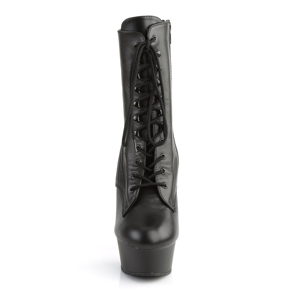 Delight 1020 Black Leather Ankle Boots