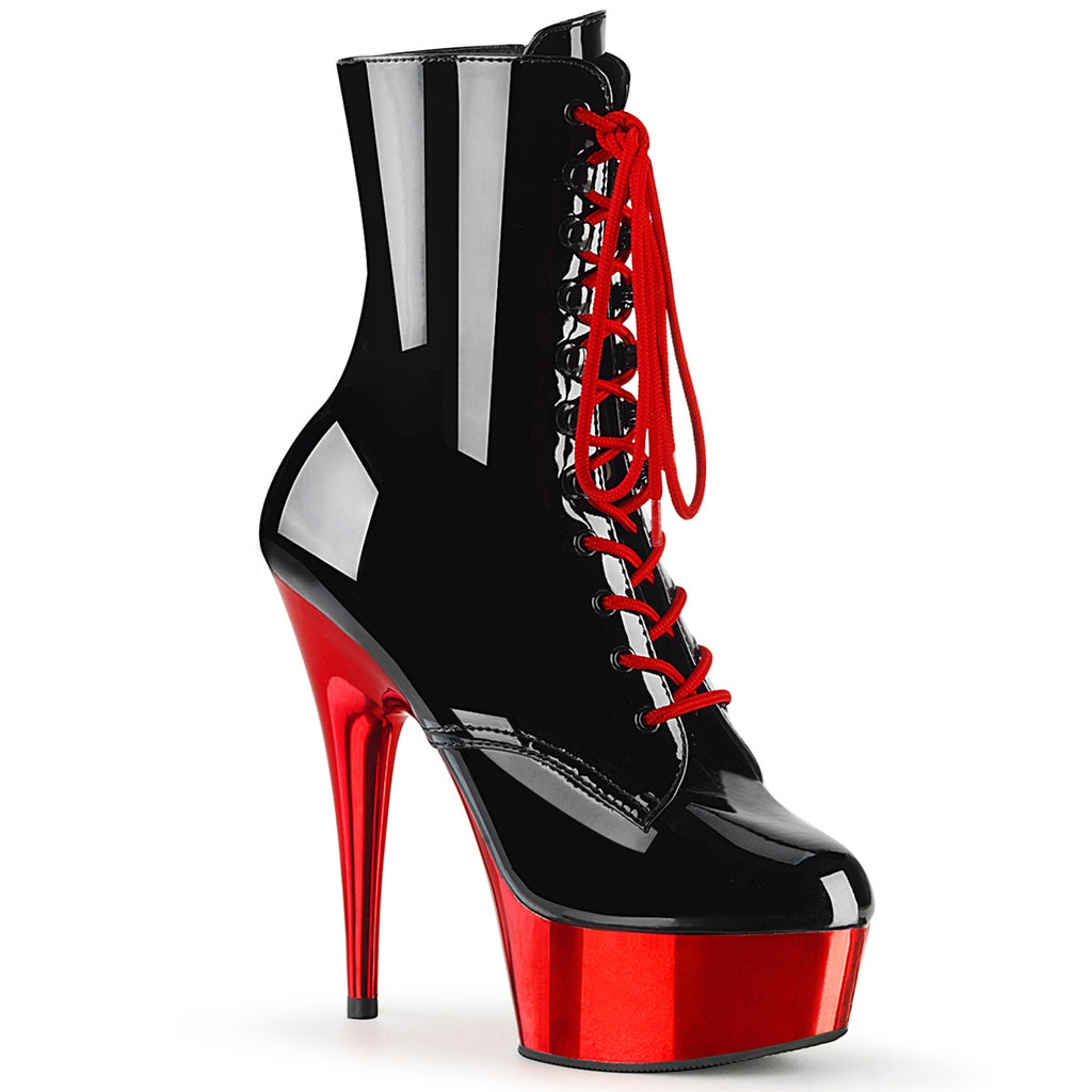 Delight 1020 Black Patent and Red Chrome Ankle Boots