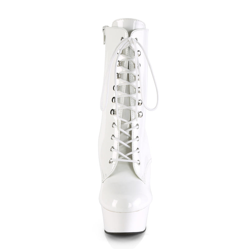Delight 1020 White Patent Ankle Boots