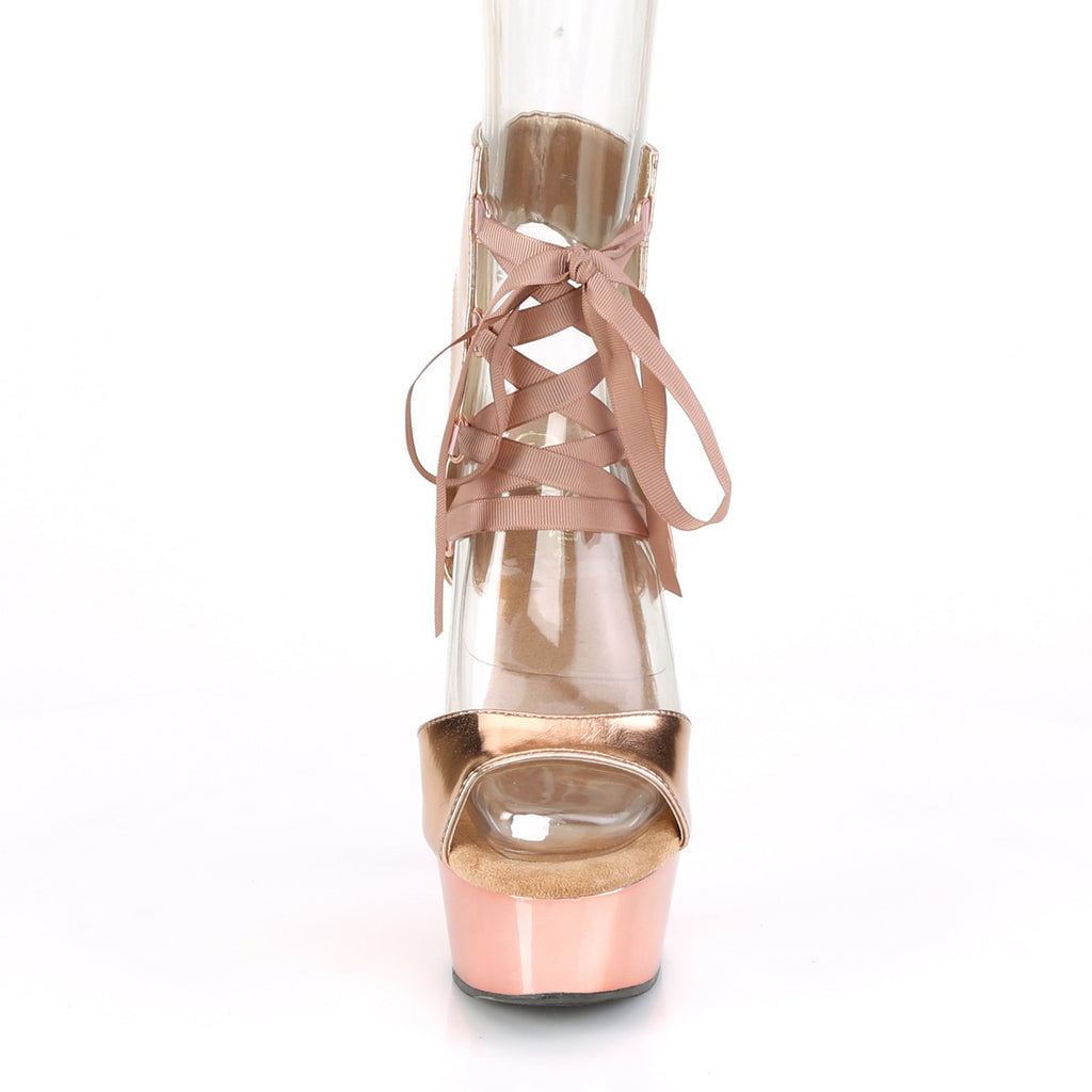 Delight 600-14 Rose Gold Chrome Lace Up Platforms