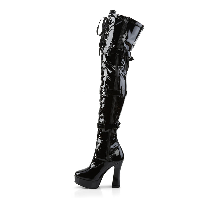 Electra 3028 Black Patent Thigh High Boots