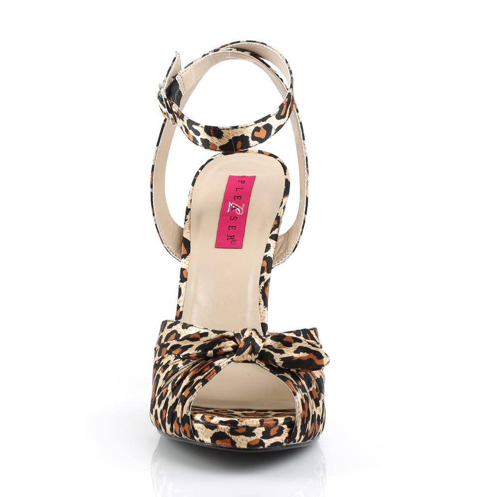 Eve 01 Leopard Print Satin Peep Toe High Heels