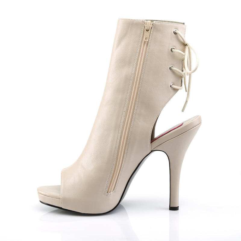 Eve 102 Cream Matte Peep Toe Ankle Boots