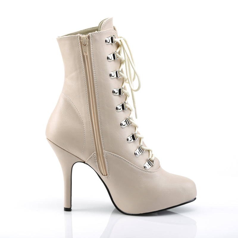 Eve 106 Nude Matte Lace Up Ankle Boots