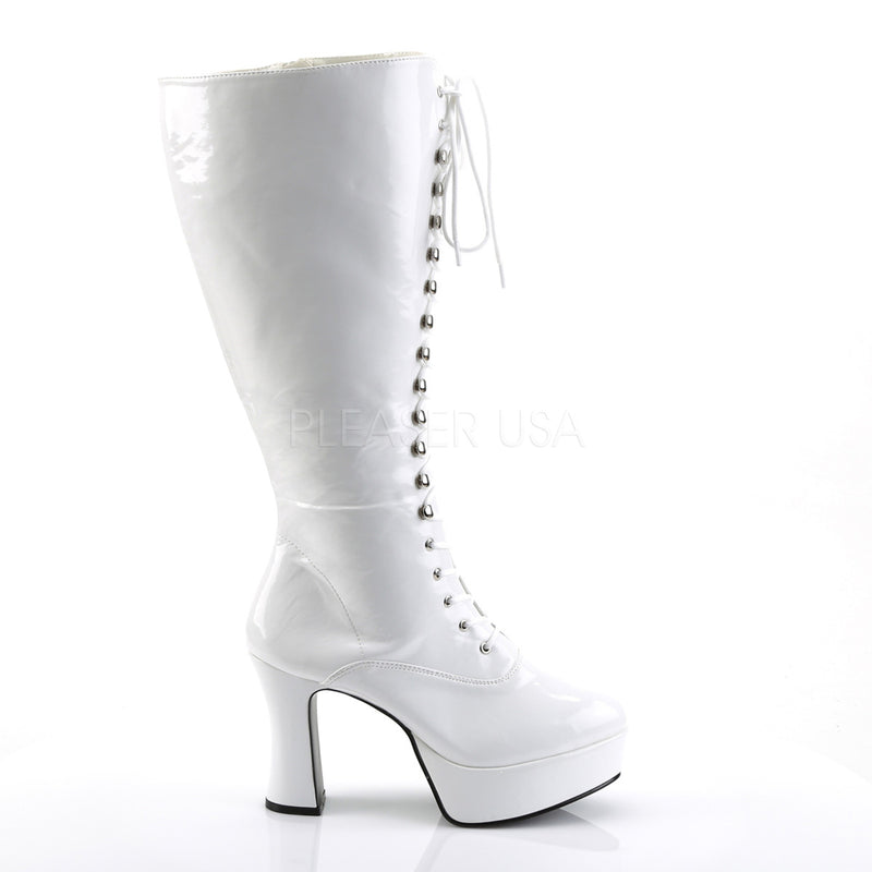 Exotica 2020X Wide Fit White Lace Up Platform Boots