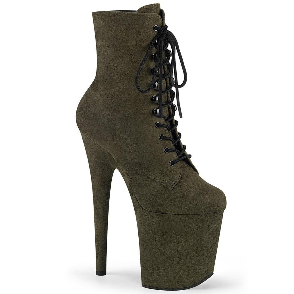 Flamingo 1020FS Emerald Green Faux Suede Ankle Boots