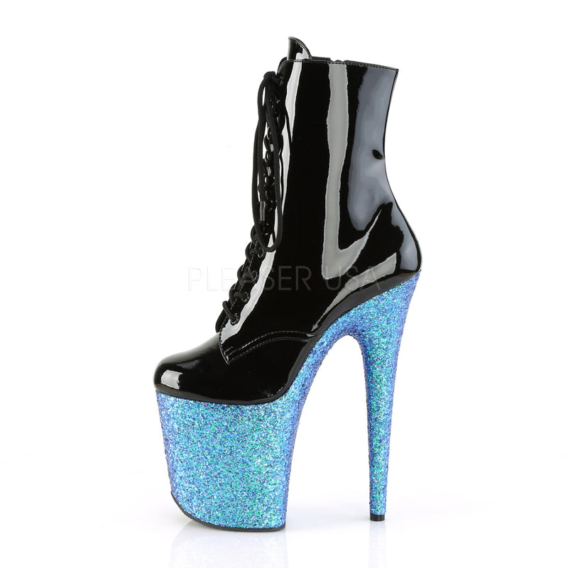 Flamingo 1020LG Black Patent and Blue Glitter Boots