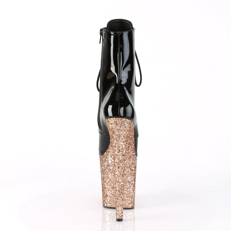 Flamingo 1020LG Black Patent and Rose Gold Glitter Boots