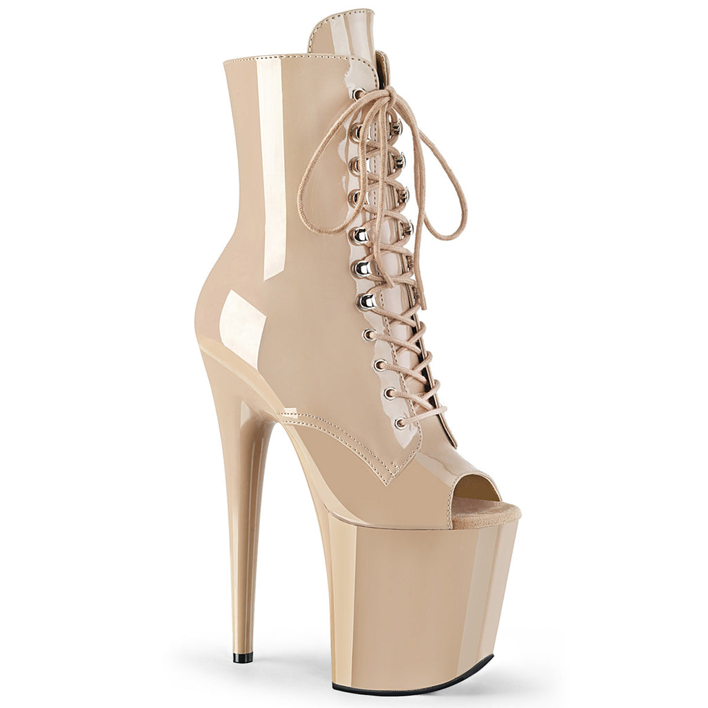 Flamingo 1021 Nude Patent Peep Toe Ankle Boots