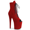 Flamingo 1021FS Red Faux Suede Peep Toe Boots