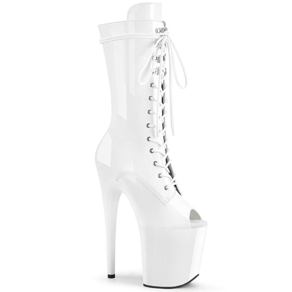 Flamingo 1051 White Peep Toe Mid Calf Boots