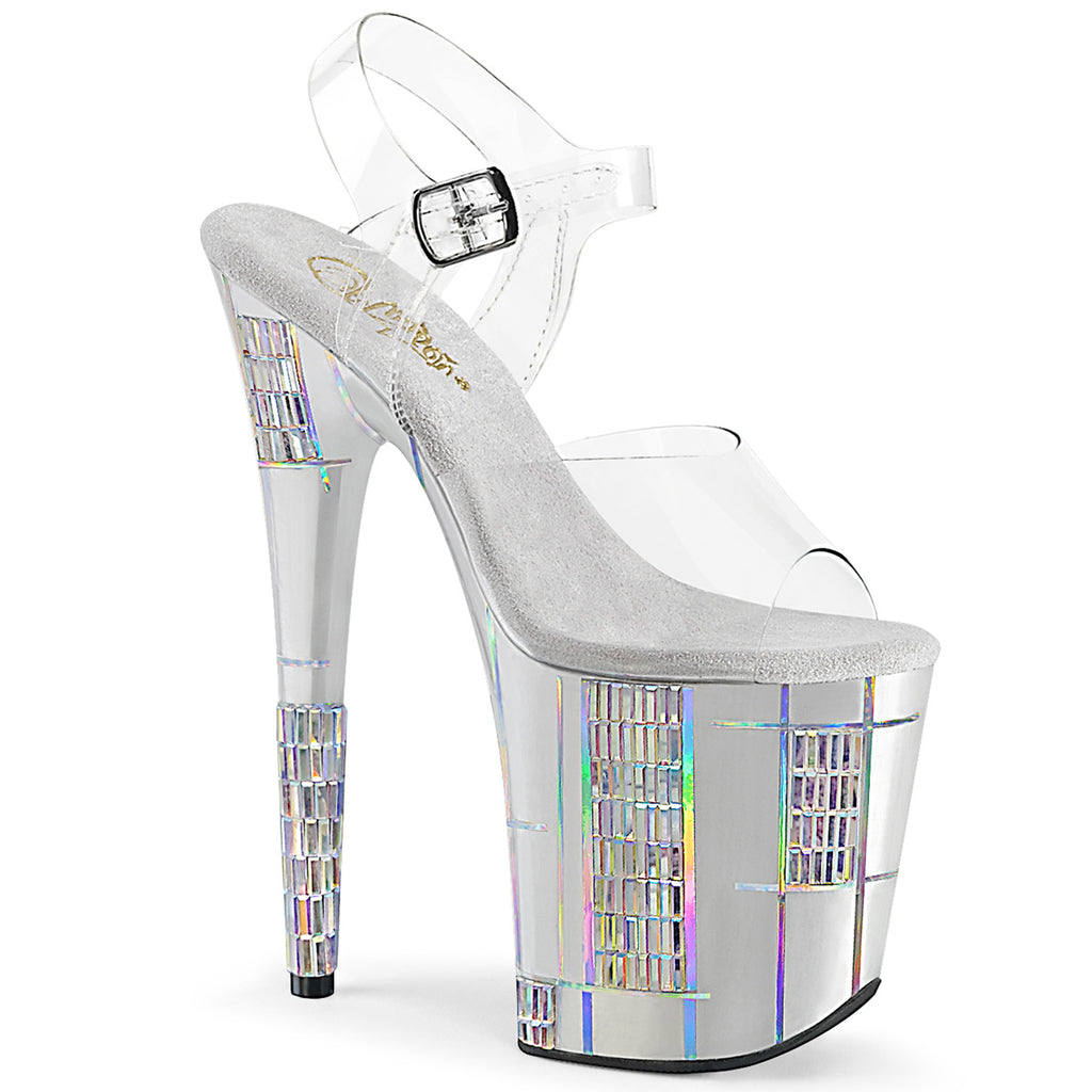 Flamingo 808SHAPE-2 Clear and Silver Platform Heels