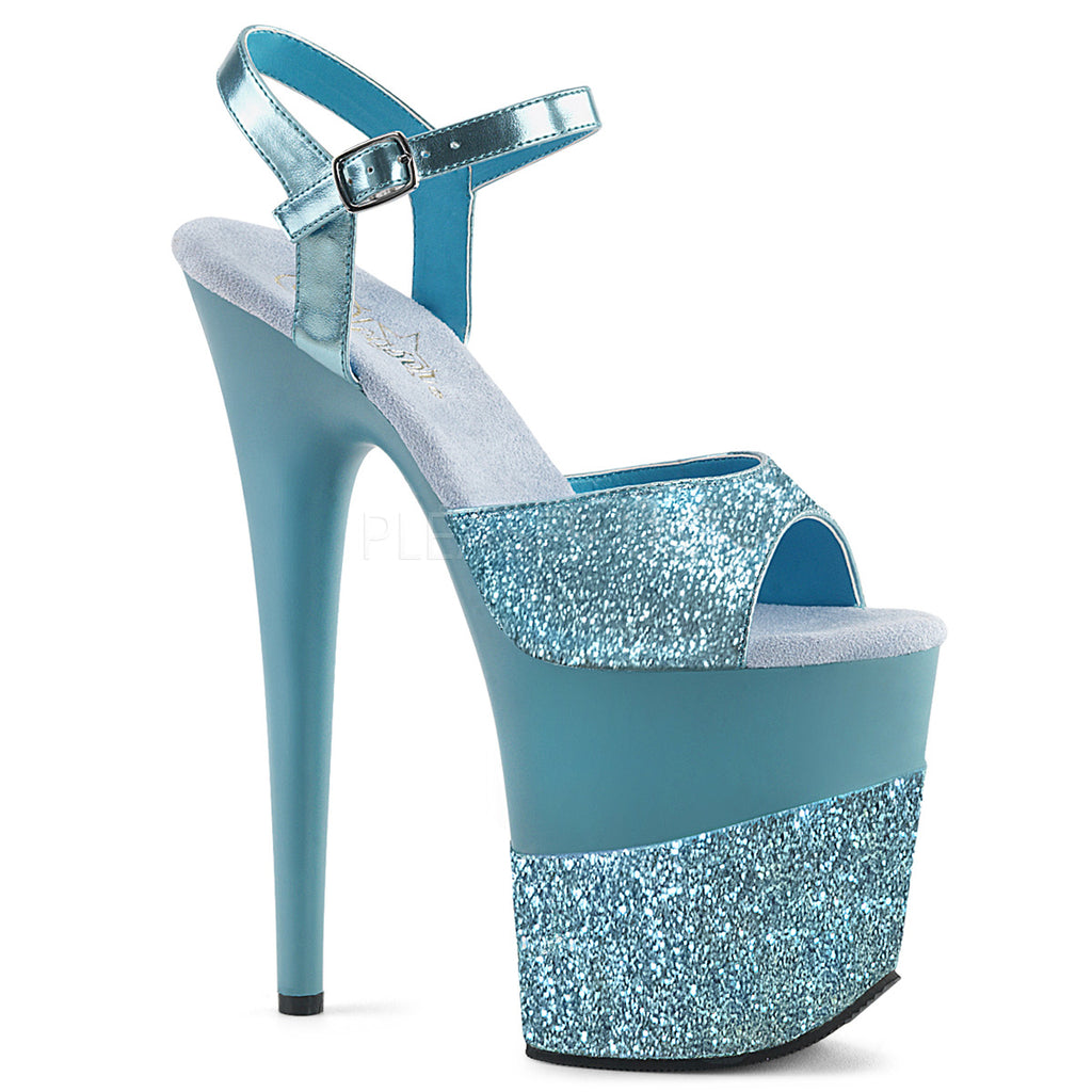 Flamingo 809-2G Baby Blue Glitter Platforms