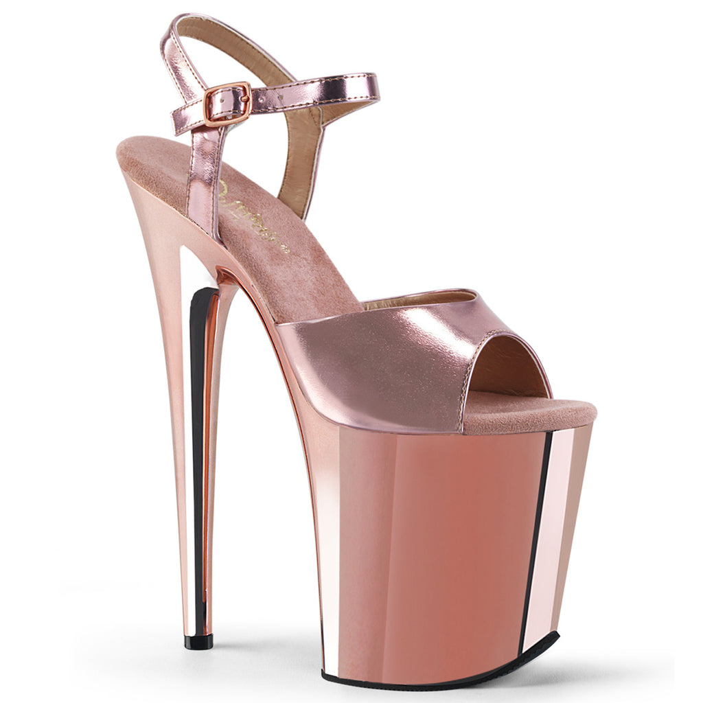 Flamingo 809 Rose Gold Chrome Platform Heels