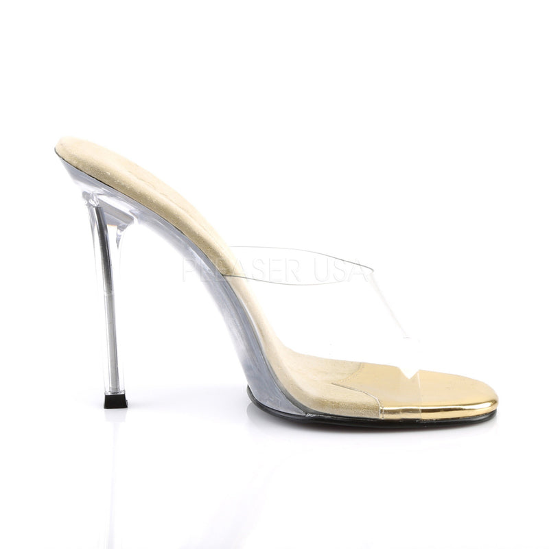 Gala 01 Gold and Clear Slip On Heels