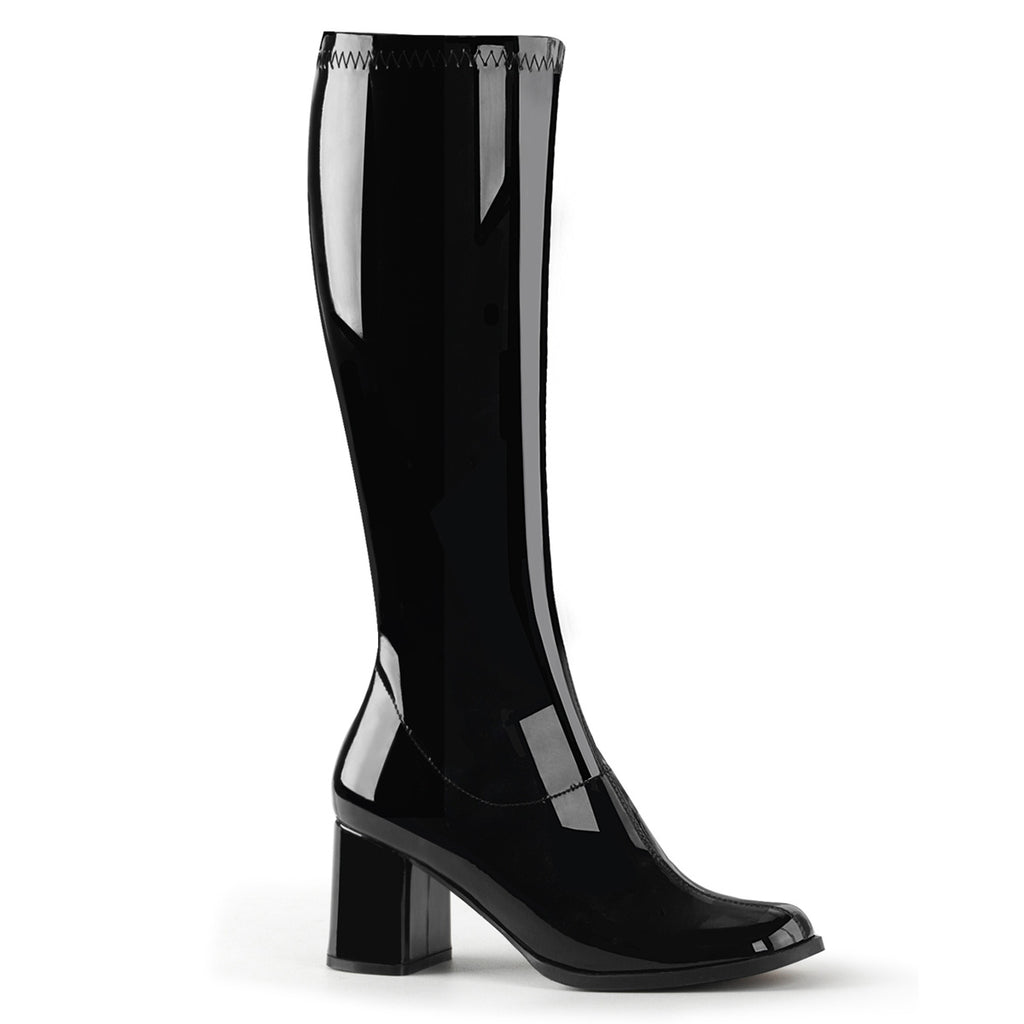 Gogo 300 Black Patent Knee High Boots